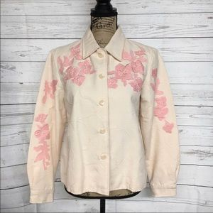 Coldwater Creek Embroidered Button Front Jacket